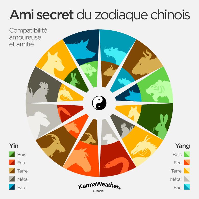Les amis secrets de l'astrologie chinoise : Rat et Boeuf, Tigre et Cochon, Lapin et Chien, Dragon et Coq, Serpent et Singe, Cheval et Chèvre. Les éléments (et leurs couleurs associées) correspondent au principal élément intrinsèque de chaque signe chinois. Ainsi, si vous êtes un Lapin de Feu, cela signifie que votre animal du zodiaque chinois est un signe de Bois Yin tandis que l'élément de votre année de naissance est le Feu.
