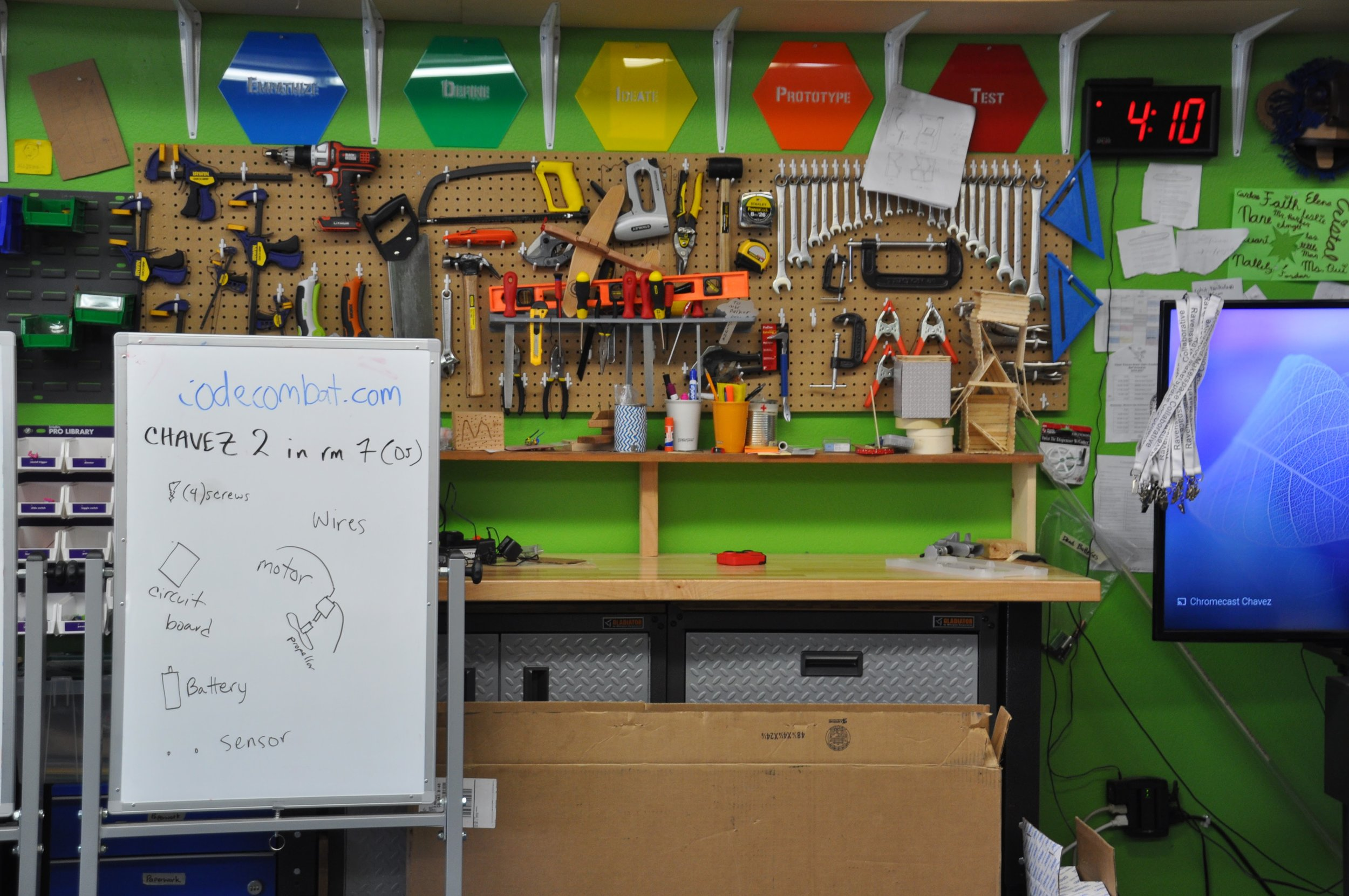 "The Cesar Chavez makerspace workbench area, much improved after the ""Make-A-Space"" activity."