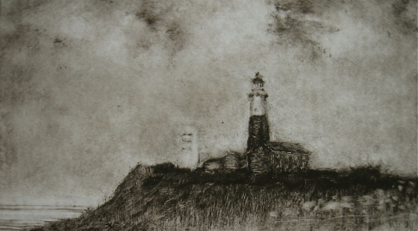 "Detail of ""Montauk Lighthouse No. 1"", 2012, Monotype Print, 1 of 1."