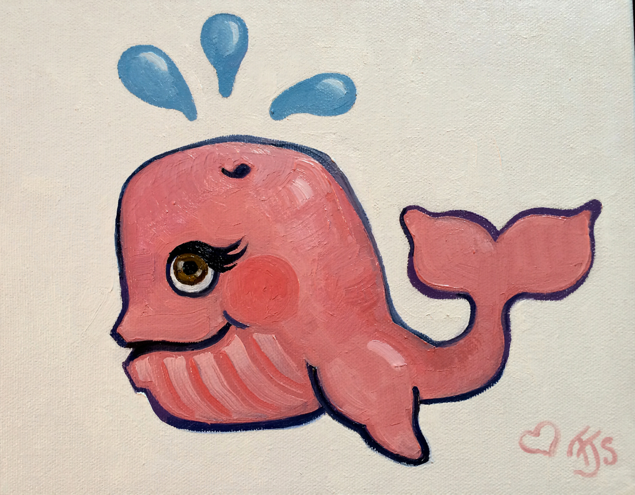 Pink Whale, 2014.  Oil on Canvas.  8x8in.