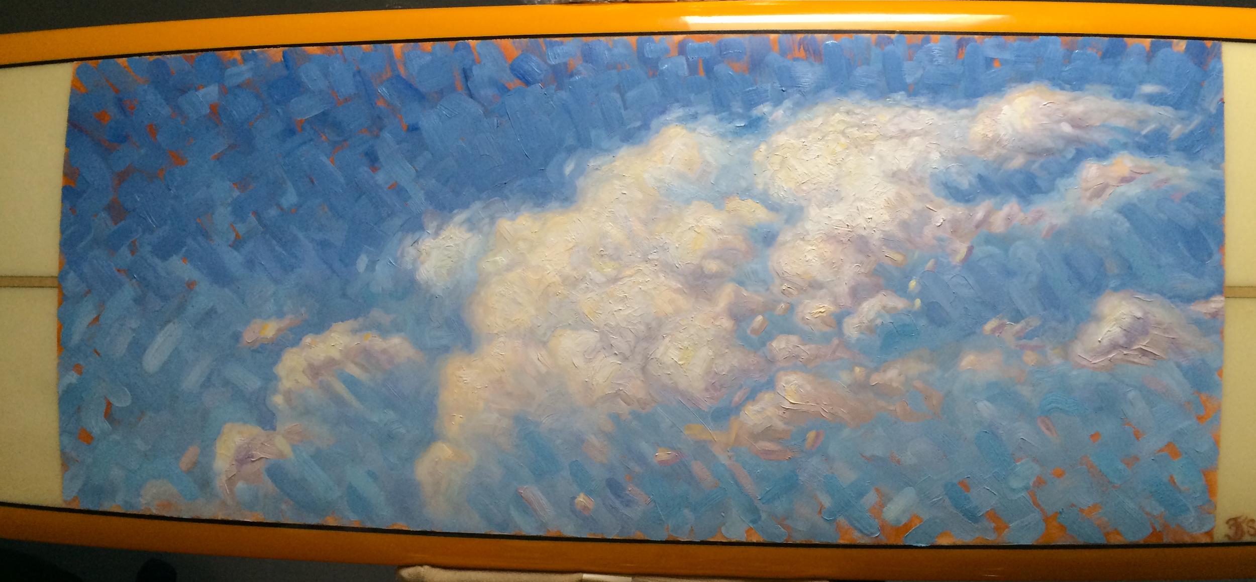 """""""Cloudburst"""" (Detail), 2014.  9ft x 6 in., oil on fiberglass surfboard"""