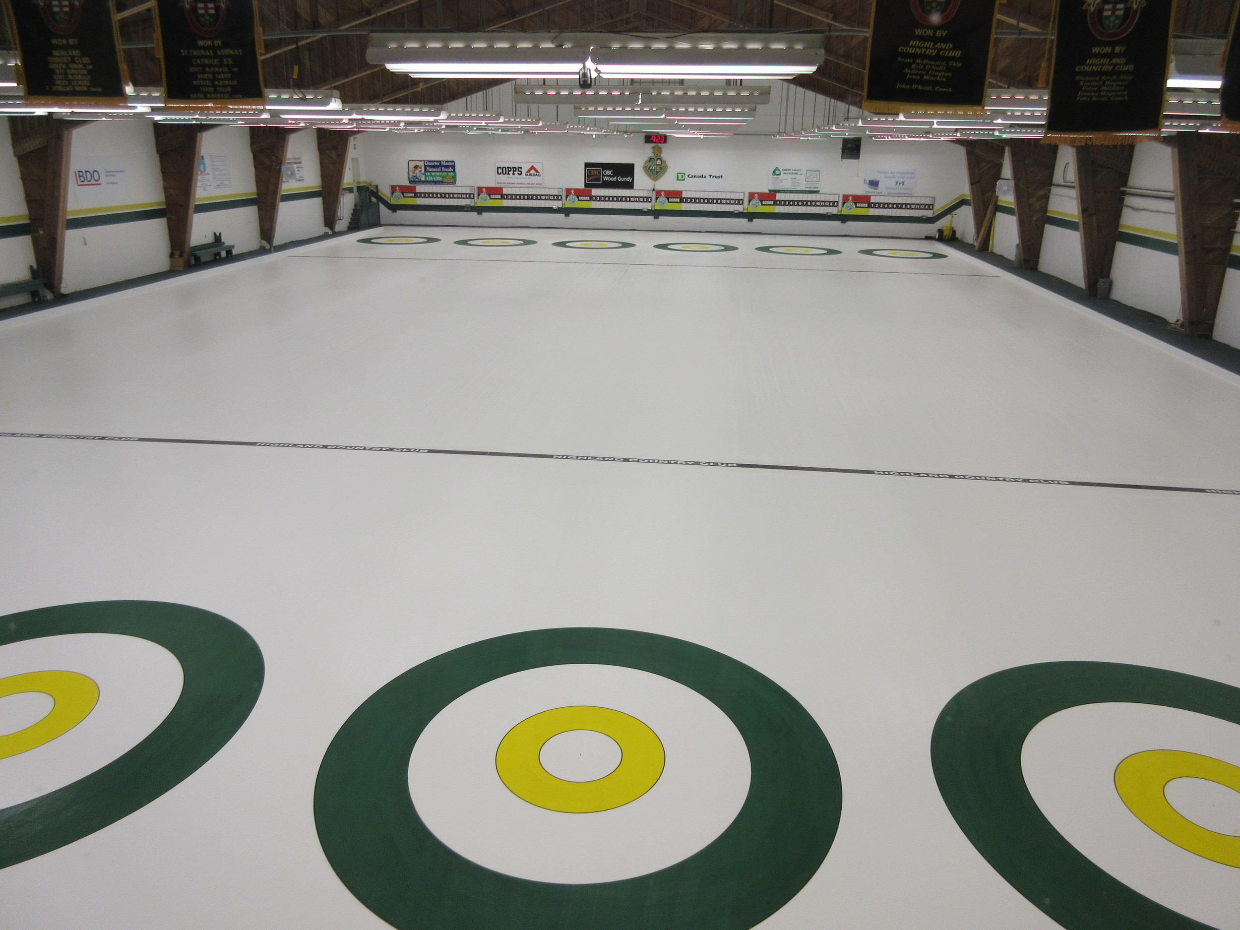 Fresh circles have been painted on the rink in preparation for next curling season.