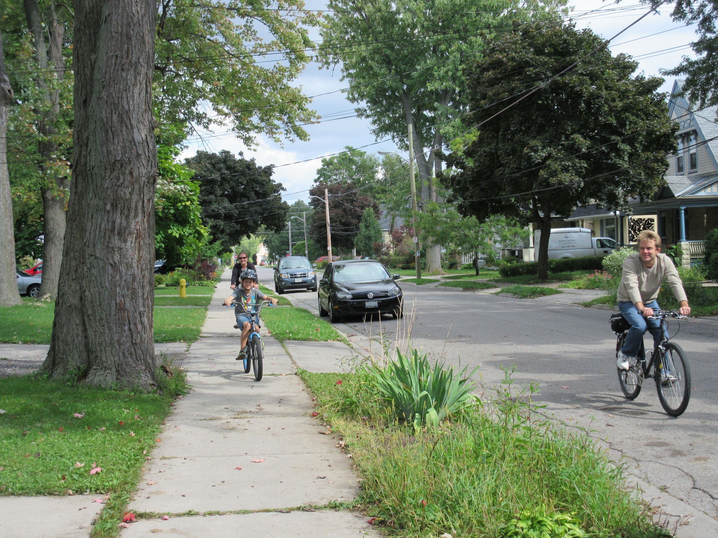"""It's fun to bike around here. Biking is one of my favourite things to do. My neighbourhood is very pretty."""