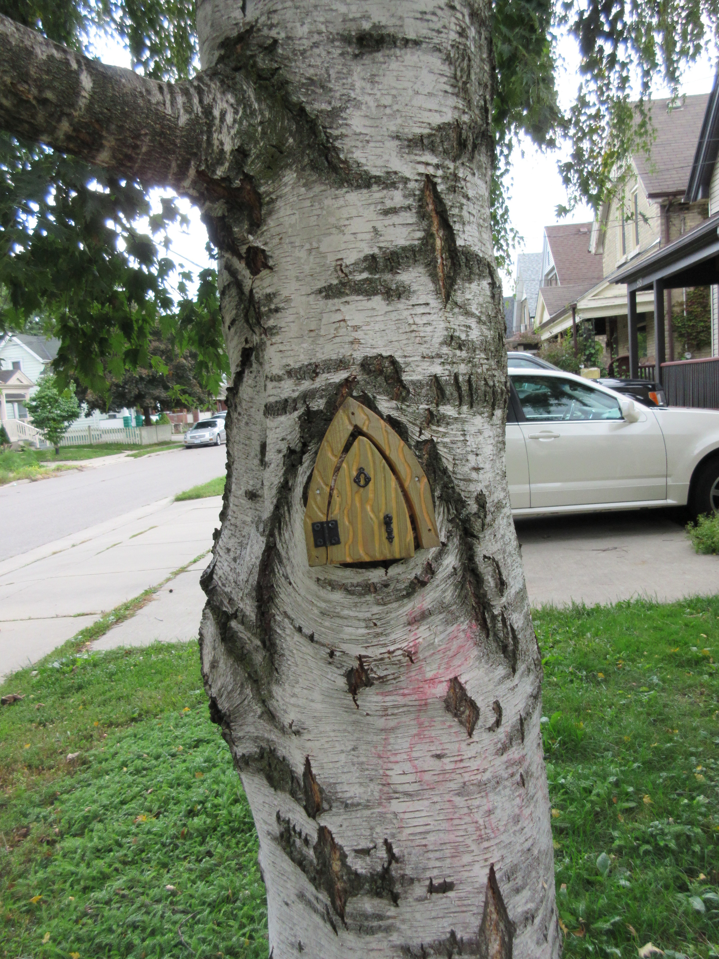 """""""These are fairy doors on Princess street. There's a mail carrier here in the village that delivers letters to the fairy god mother of Old East Village. And then at changes of season, fairy doors show up in different places."""""""