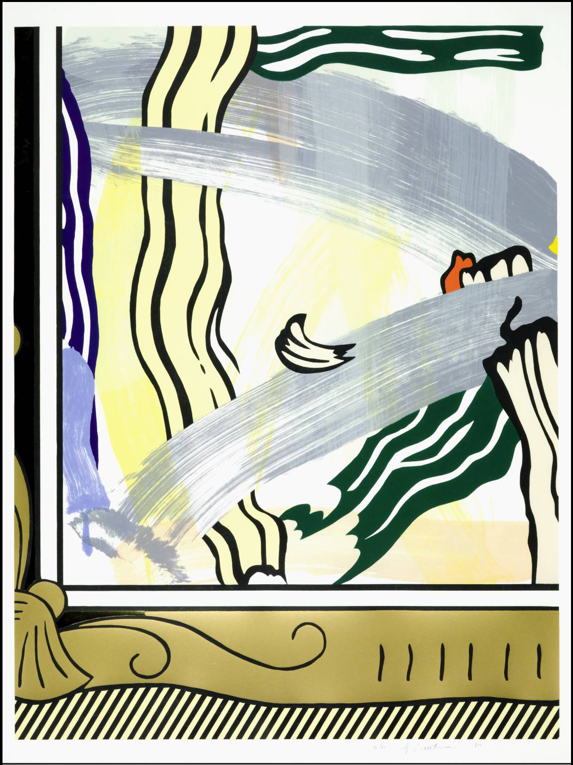 Roy Lichtenstein   Painting in Gold Frame   1984   woodcut, lithograph, screenprint, and collage on Arches 88 paper   46 1/4 x 35 15/16 inches   edition of 60