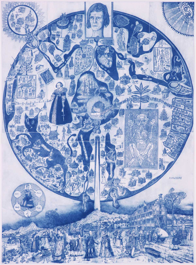 Grayson Perry Map of Nowhere (blue) 2008 Etching 60-1/4 x 44-1/2 inches Edition of 15