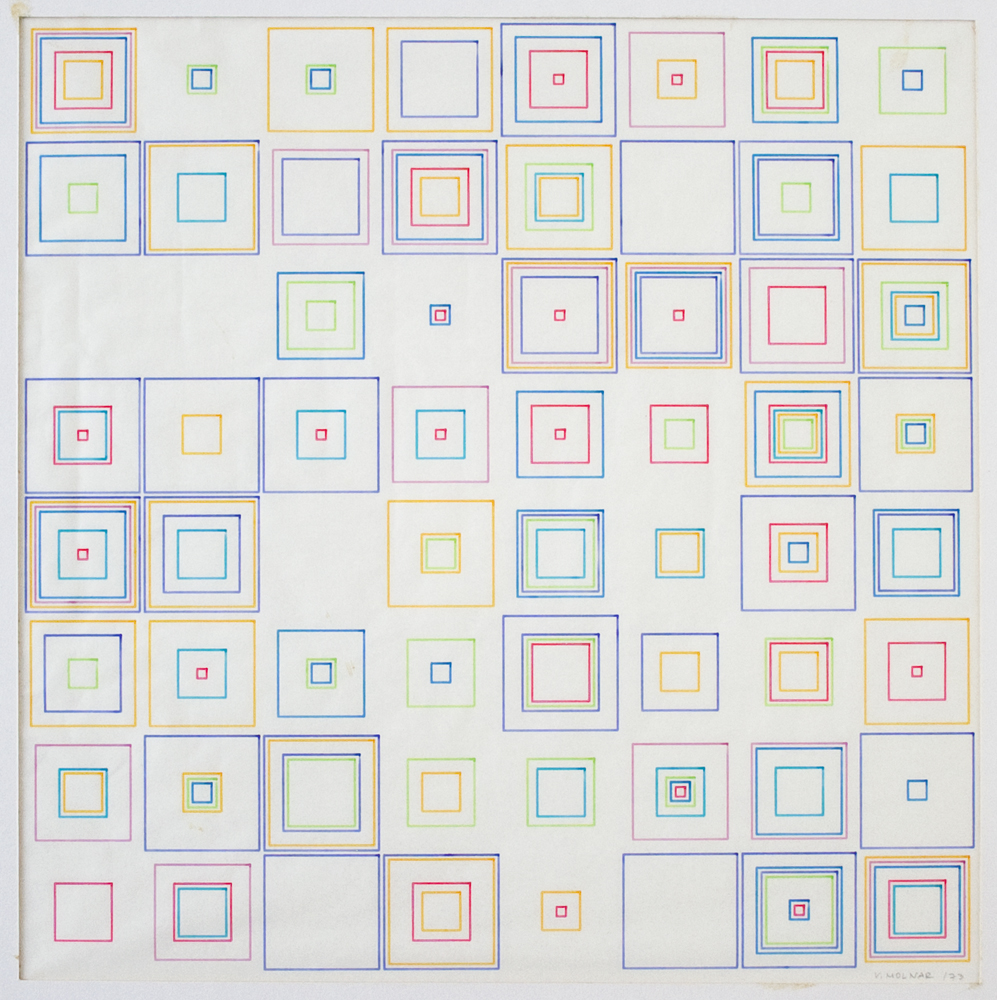 Vera Molnar Carres 1973 computer graphic and ink on plotter paper 12 x 12 inches