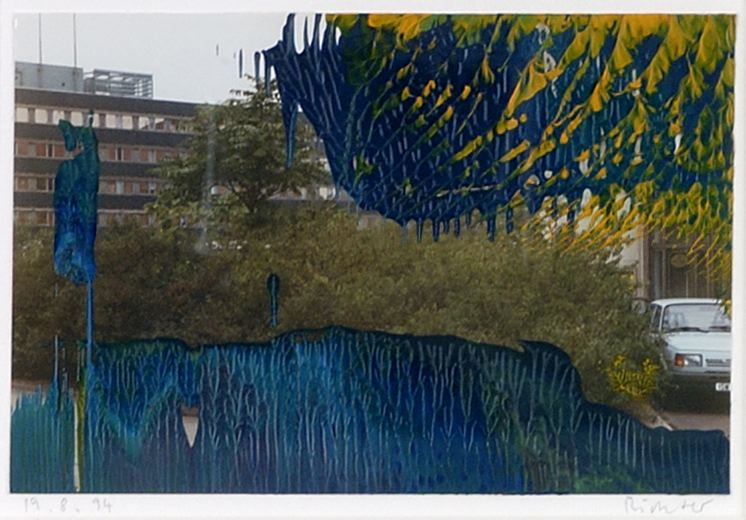Gerhard Richter Hausser 1991 oil on photograph 3 3/4 x 5 3/4 inches