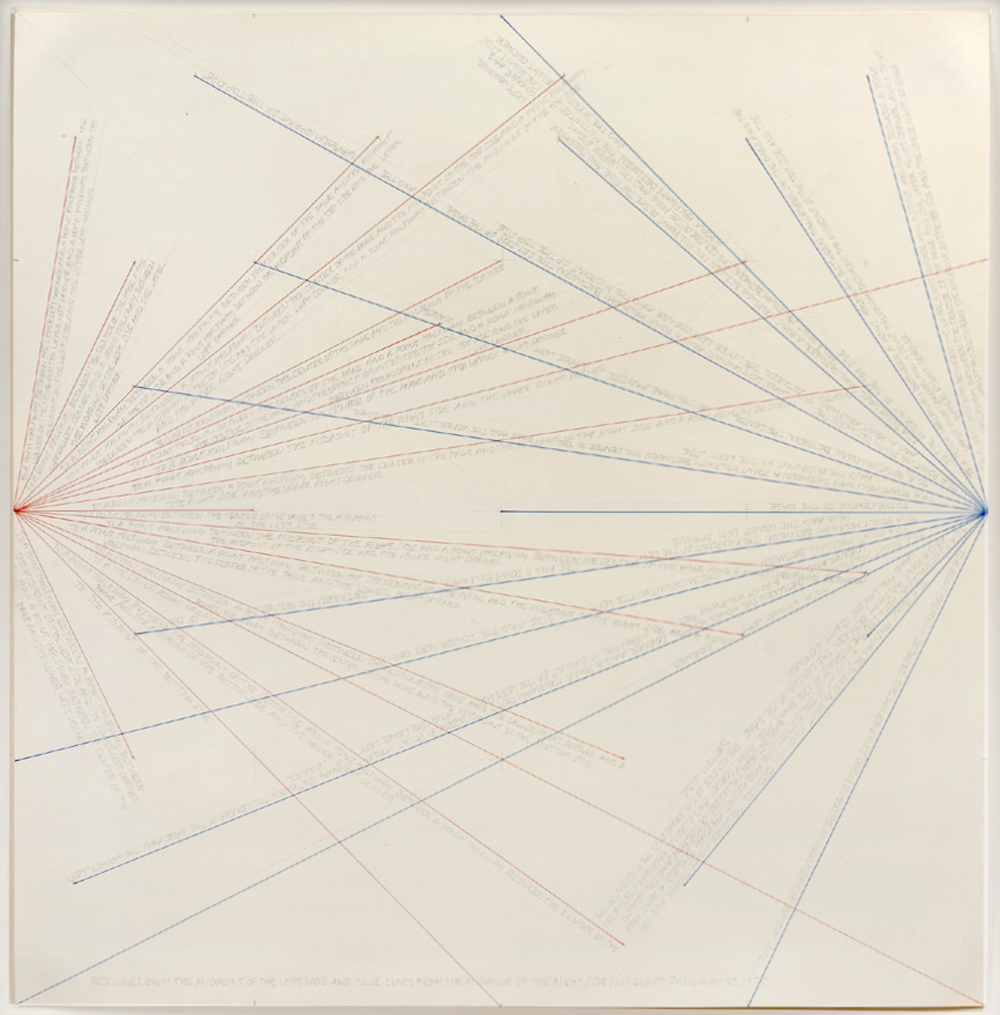 Sol LeWitt Red Lines from the Midpoint of the Left Side and Blue Lines from the Midpoint of the Right Side 1975 colored inks and pencil on paper 15 x 15 inches