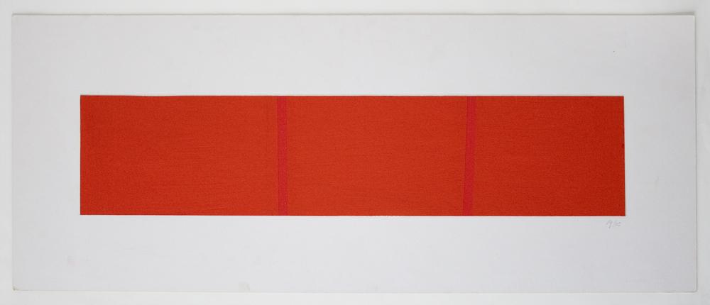 Partition of a Surface Orange by 2 Lignes Droite Rouge