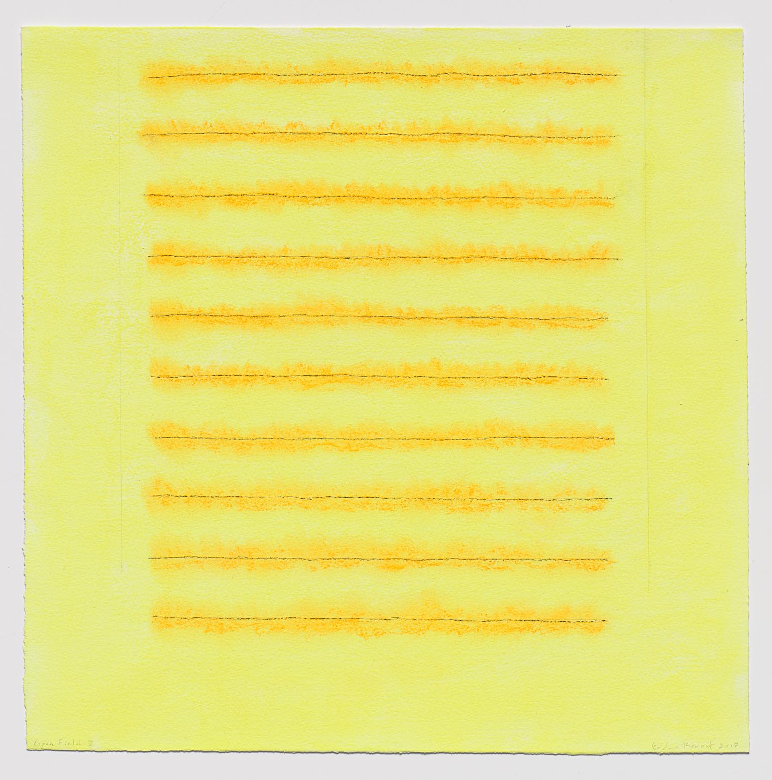 Edda Renouf (American, b. 1943)  Open Field-2,  from  Open Field Series , 2017 Incised lines, ink, graphite, and yellow pastel chalk on Arches paper 15 x 15 inches