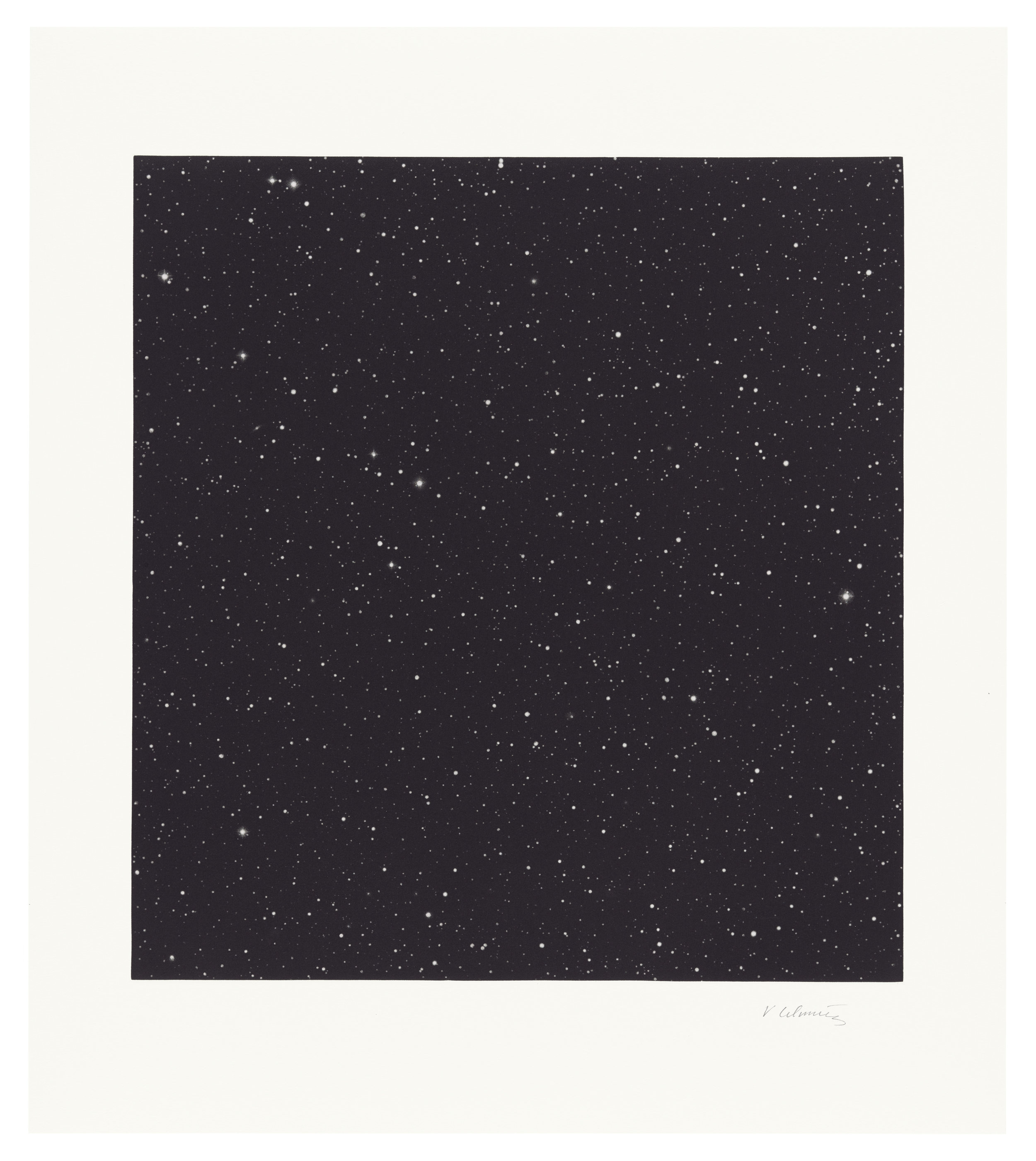 Vija Celmins (Latvian-born American, b. 1938)  Untitled (Dark Sky 1) , 2016 mezzotint on Hahnemuhle paper 22 1/2 x 19 inches (54.6 x 48.3 cm)