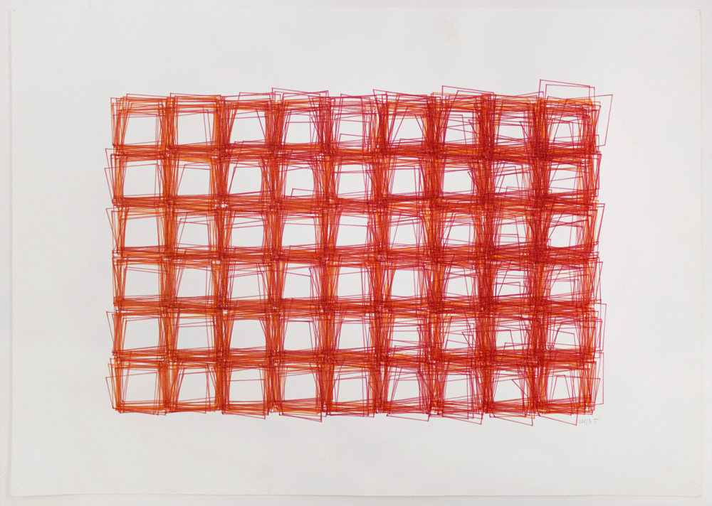 Vera Molnar (Hungarian-born French, b. 1924)  Structure de Quadrilatères (Square Structures) , 1985 ink on paper 11.81 x 16.54 inches (30 x 42 cm)