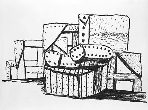 Philip Guston,  Studio Forms,  1980 Lithograph on J. Barcham Green Crisbrook paper, 32 x 42 1/2 inches