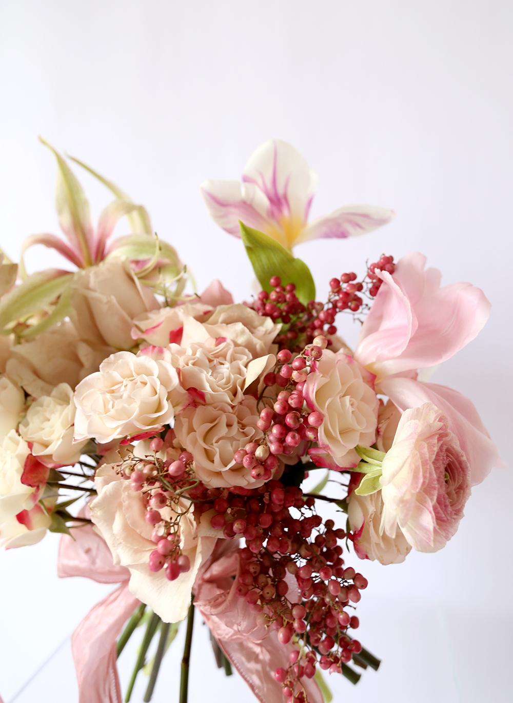 Vervain pink valentines flower bouquet