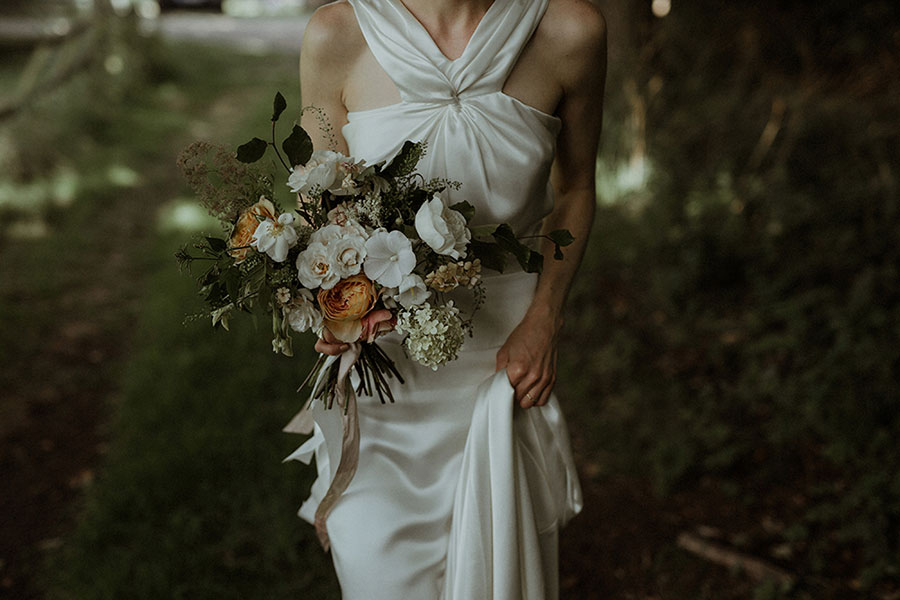 unique bridal bouquet with summer flowers for a modern bride