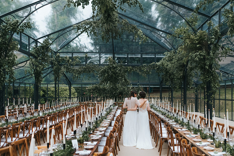 hanging foliage installation for elegant glass marquee wedding in London