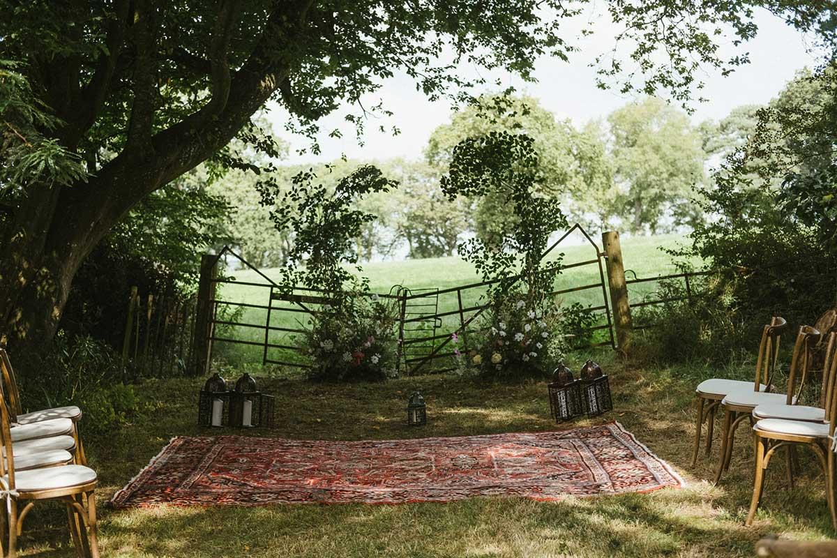 unique summer foliage installation arch for woodland ceremony in Dorset