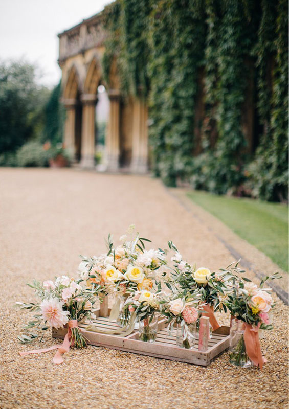pastel coloured bridal flowers at a summer wedding in cheltenham