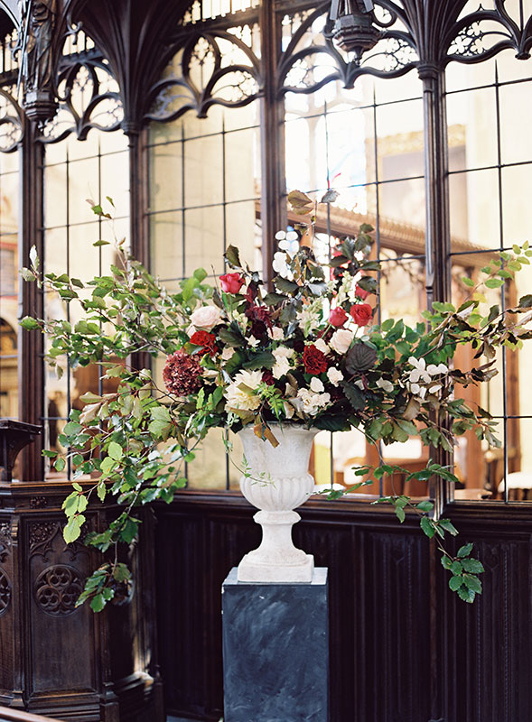 large urn arrangement with autumnal flowers at St Giles House Dorset