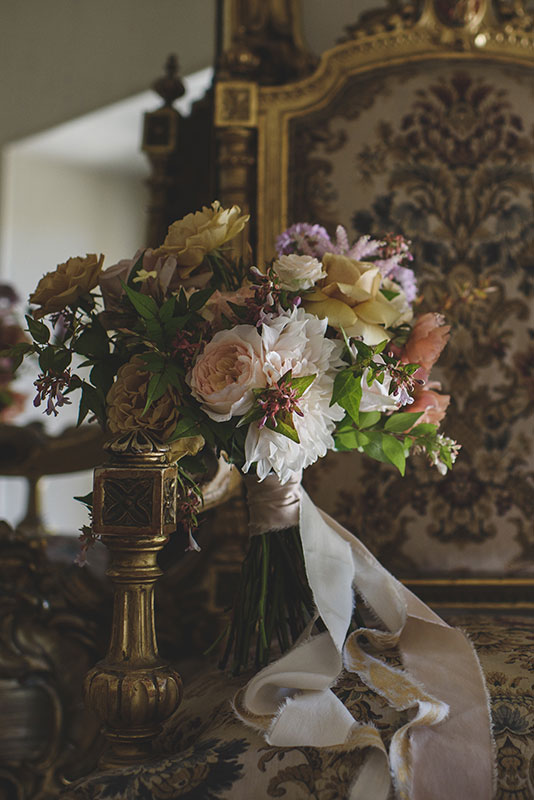 unique gold and pink bridal bouquet with silk ribbons