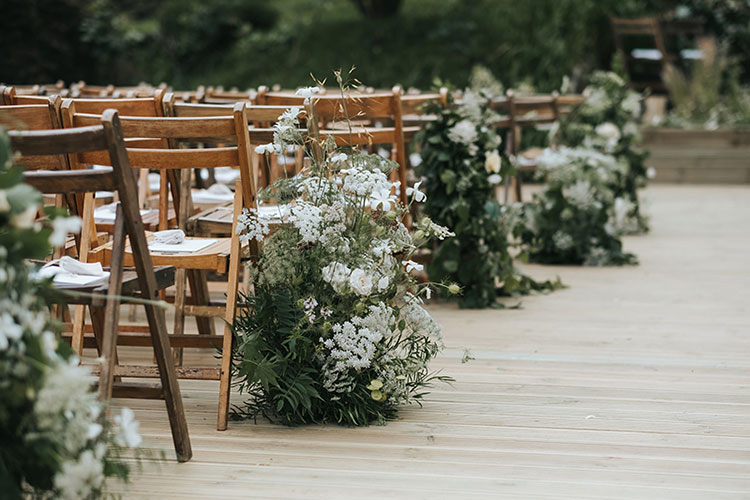 London Wedding Flowers with wildflowers and meadow style aisle decor