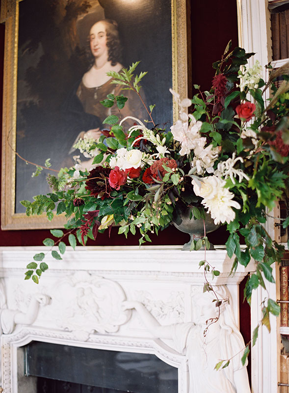 Vervain large urn arrangement with vines for autumnal wedding at St Giles House