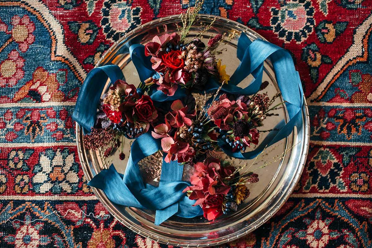 autumnal table centres for unique devon wedding