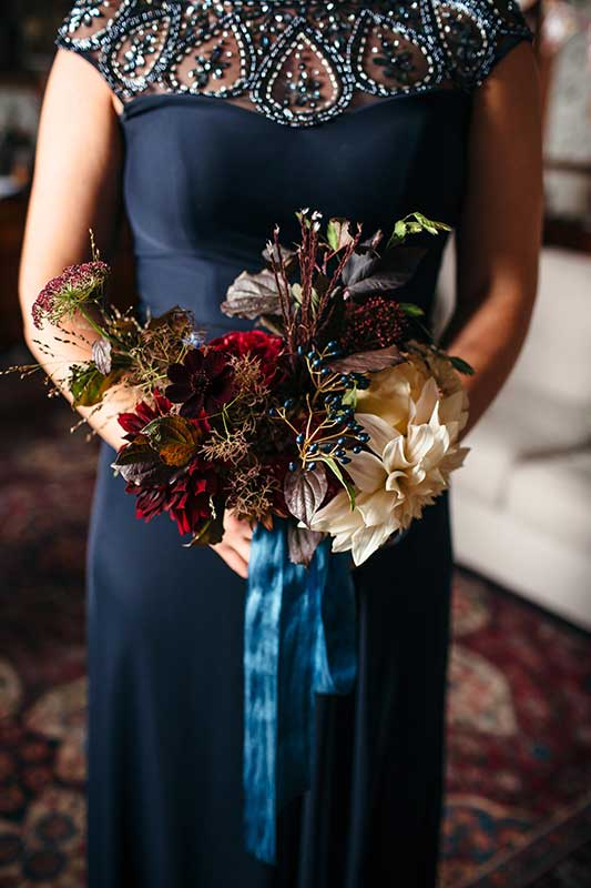 vervain bridemaid bouquets with silk ribbon