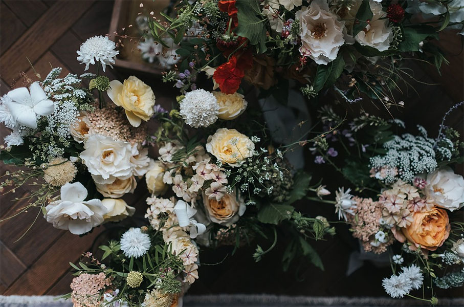 Vervain unique glass marquee wedding in London with summer flowers