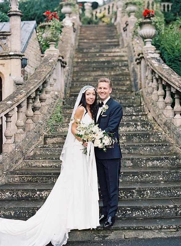 Vervain Unique white wedding florals castle combe Wiltshire