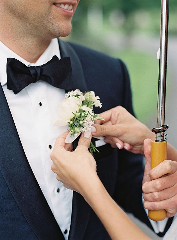 Vervain Unique white wedding florals castle combe Wiltshire grooms buttonholes