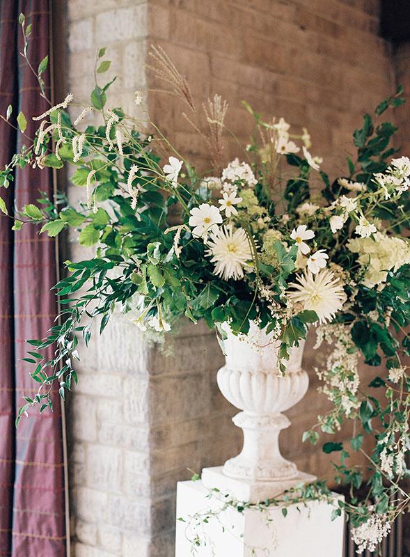 Vervain Unique white wedding florals castle combe Wiltshire large statement arrangement