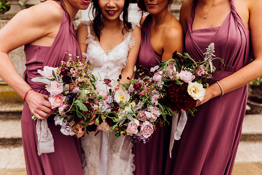summer wedding flowers hedsor house in lilac and burgundy