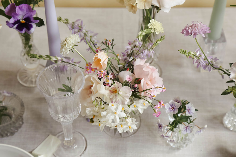 summer pansies in cut glass wedding florals