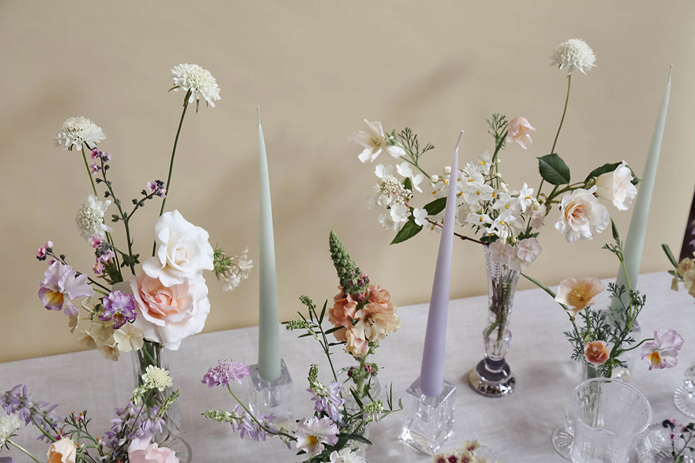 summer flowers, homegrown wedding flowers in cut glass vases