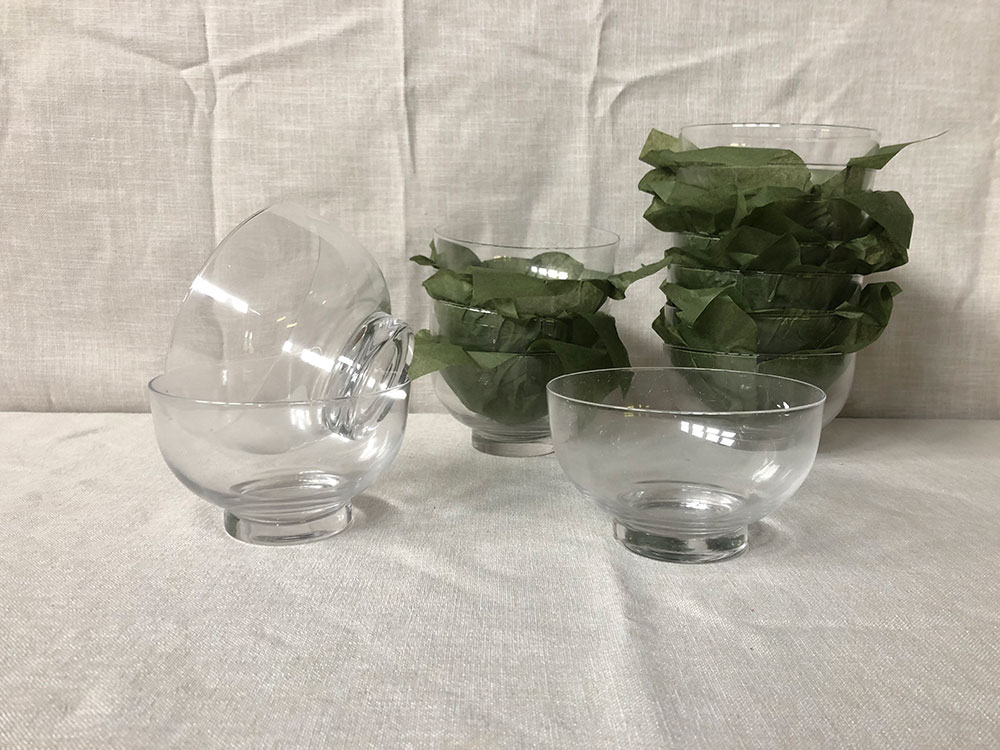 Clear glass footed bowls