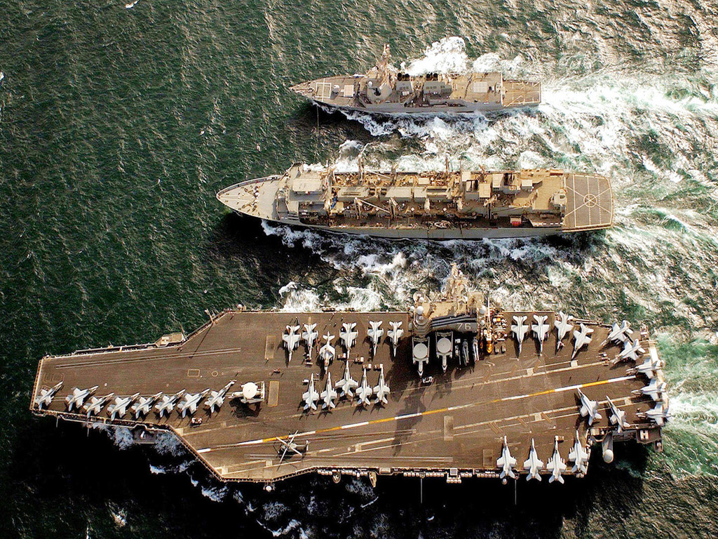 USS Ronald Reagan, Nimitz Class Carrier with Escort