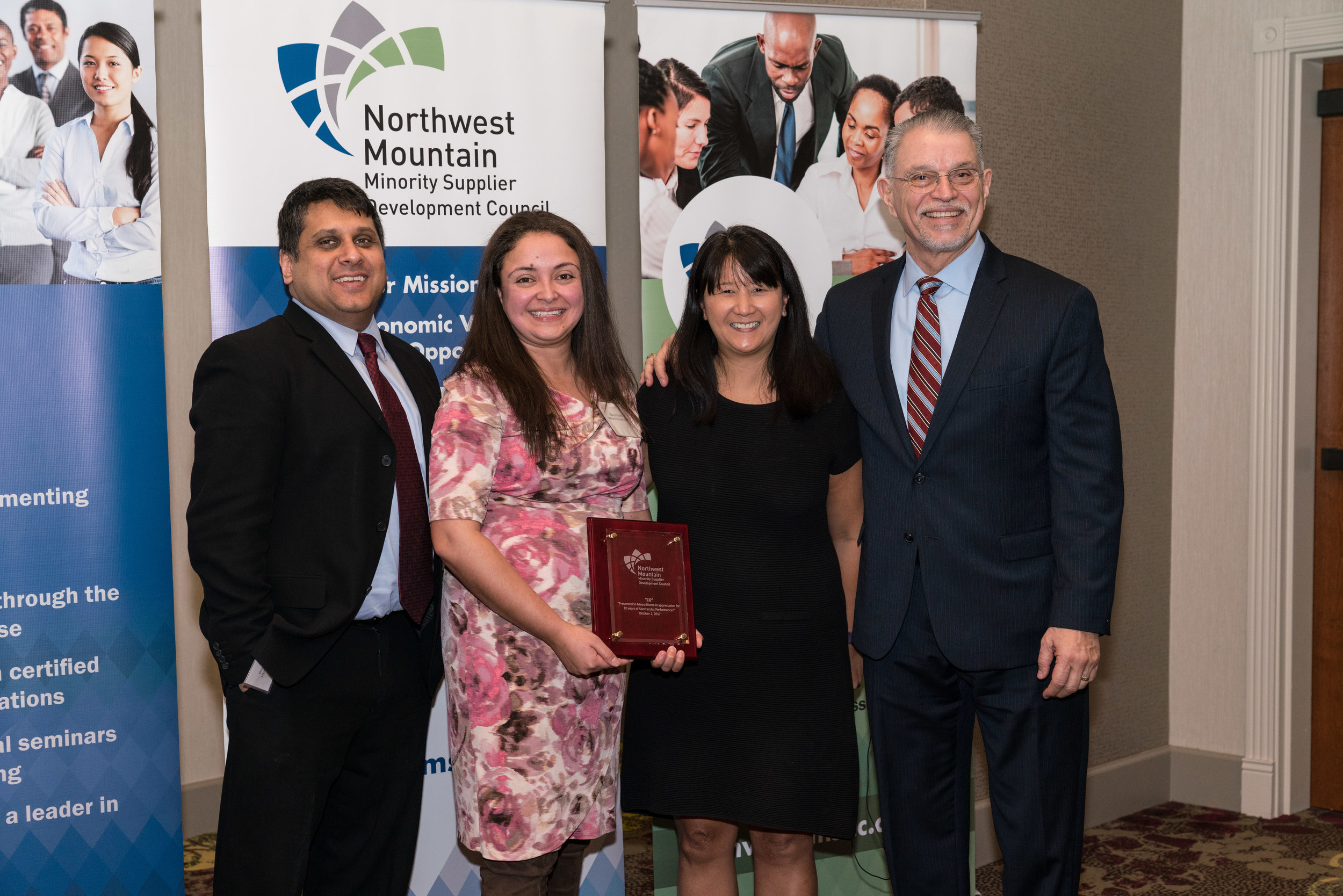 Shahzad Q. Qadri, Wong Fleming; Mayra Rivera, Northwest Mountain MSDC; Diane Lin, Starbucks Corporation; and Fernando Martinez, Northwest Mountain MSDC