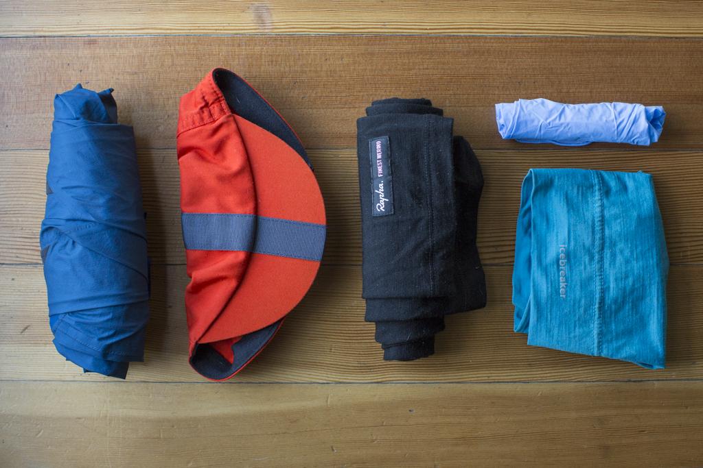 Emergency Kit - 7Mesh Resistance Jacket, Rapha Cap, Rapha Merino knee warmers, Icebreaker merino beanie, latex gloves