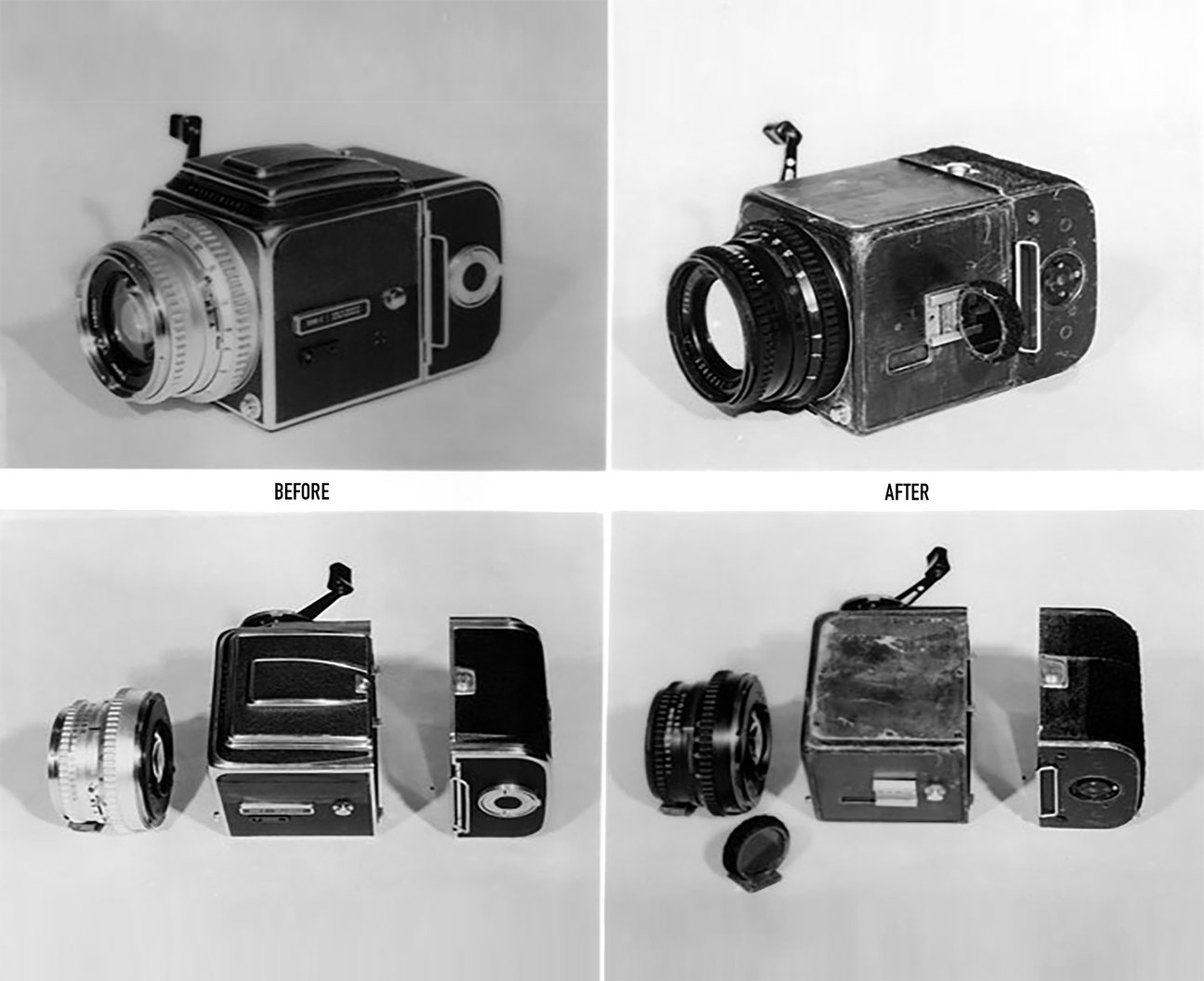 The original space-flown Hasselblad 500C, shown before and after. It now resides in a private collection.