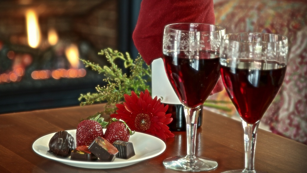 Complimentary Wine and Chocolates in front of the Fireplace.jpg