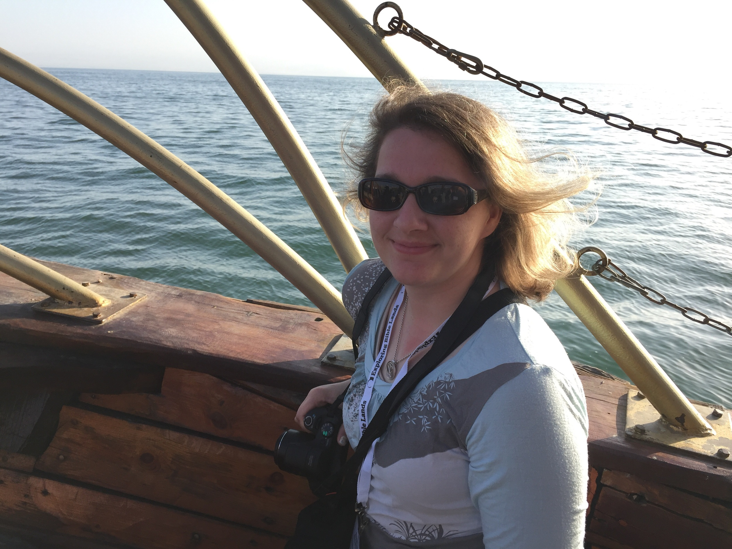 Anna enjoying being on the Sea of Galilee.