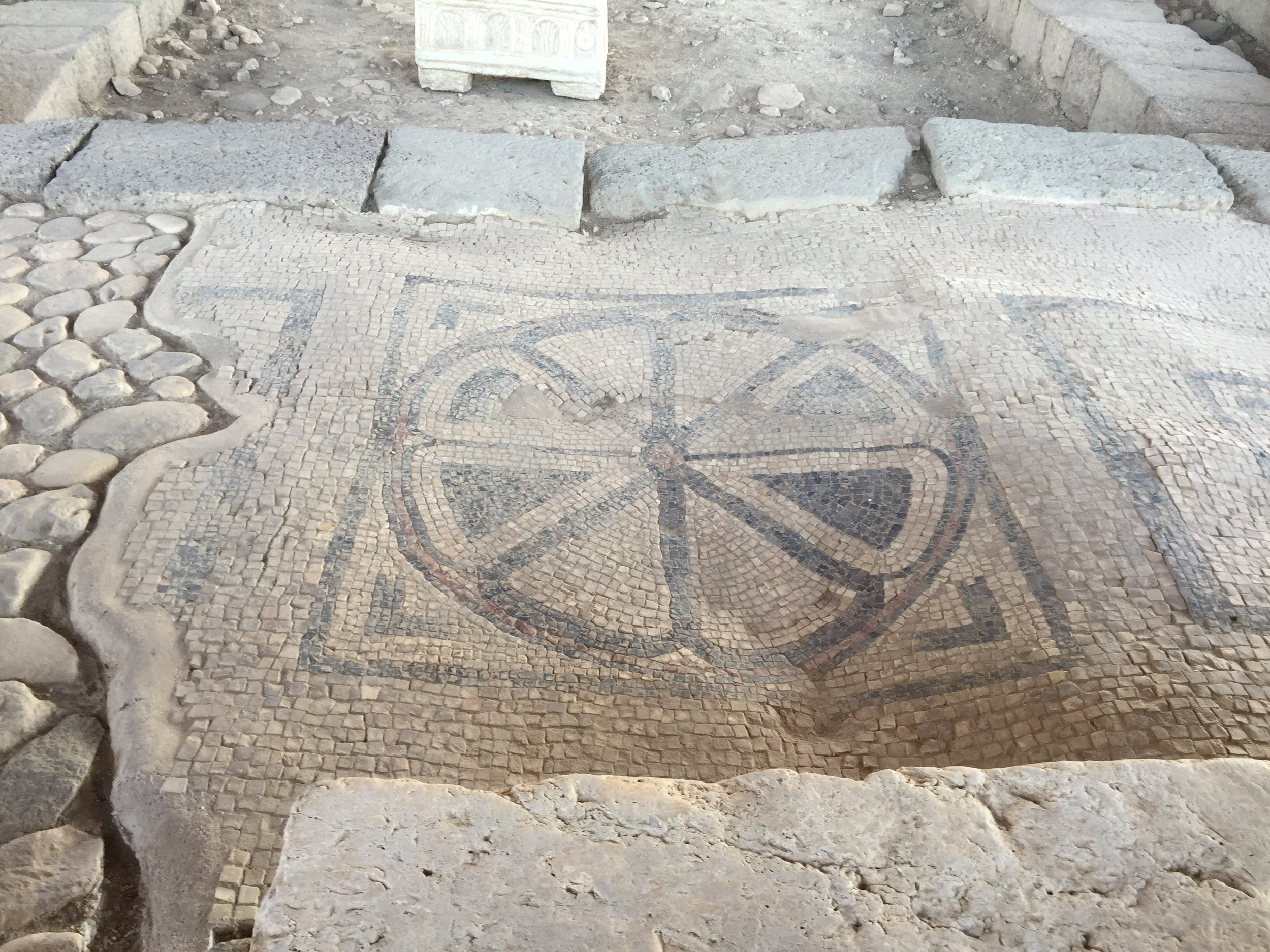 Original Mosaic at the back of the Magdala tabernacle! It was beautifully preserved.
