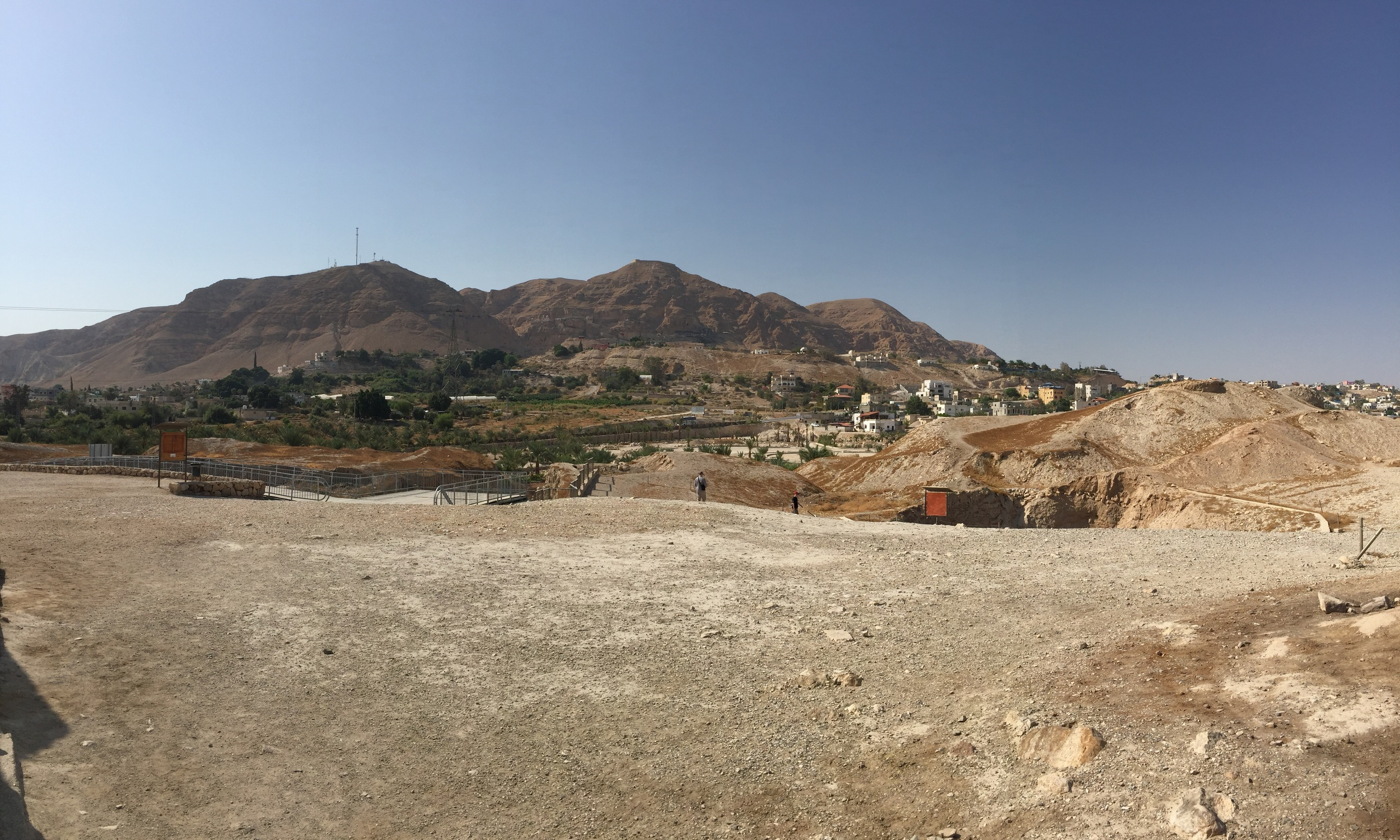 The western hills behind Jericho where Rahab told the Israelite spies to hide for three days before returning to Joshua with their report.