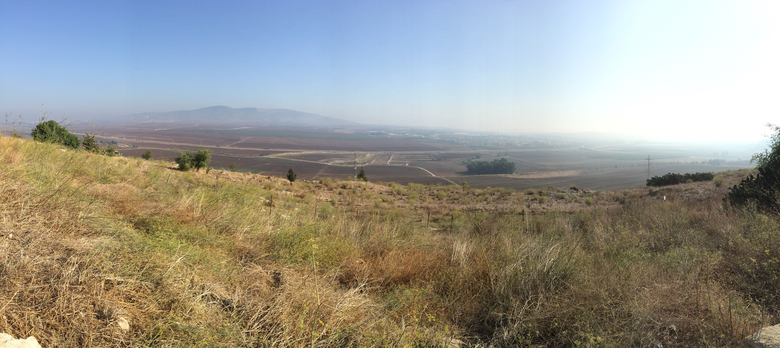 On top of Tel Jezreel looking north & east at hill Moreh on the left, and the Jezreel valley below us.