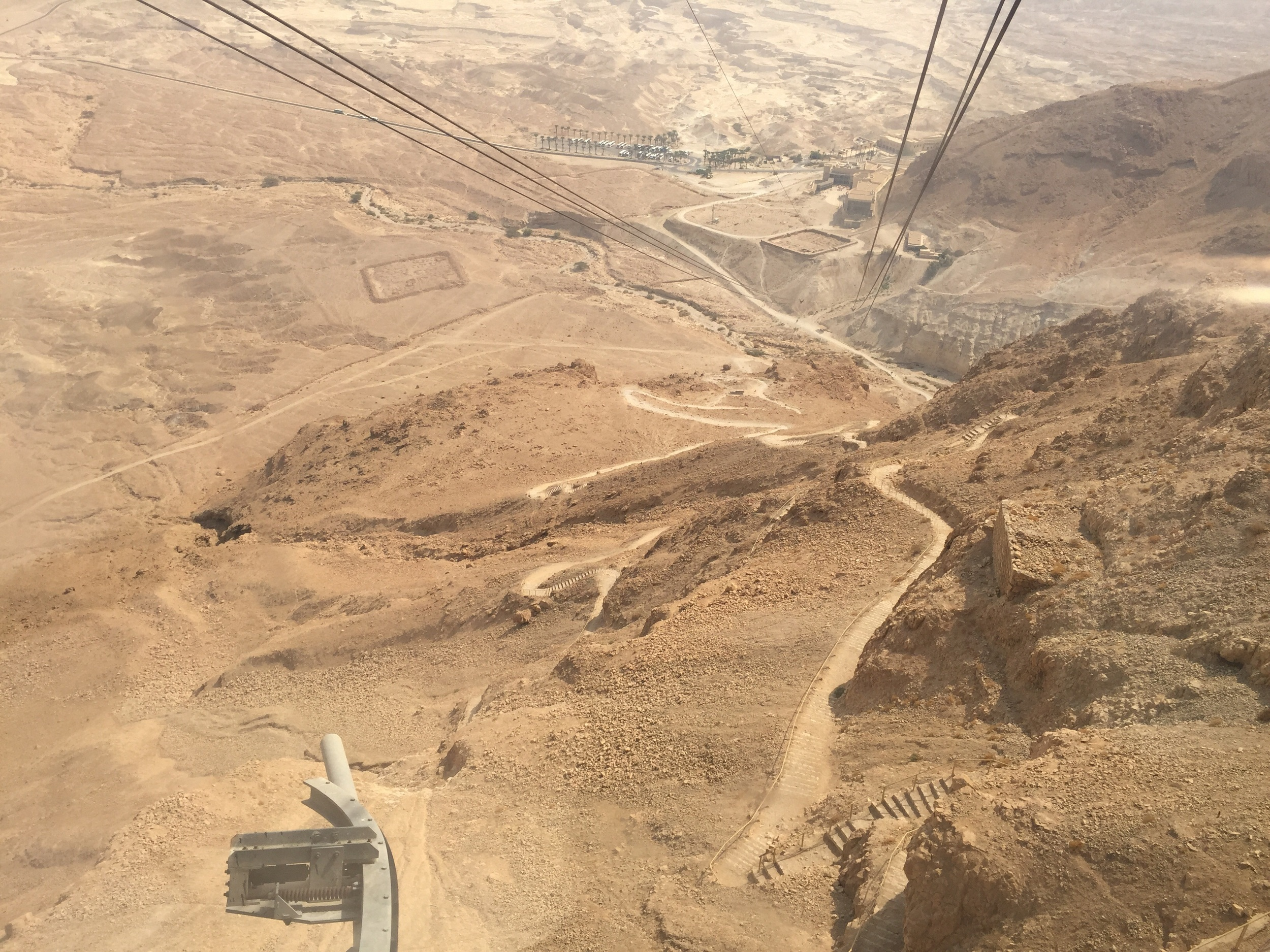 The view down from our cable car at Masada. You can see the two squares that were the Roman encampments, as well as the Snake Path winding its way up.