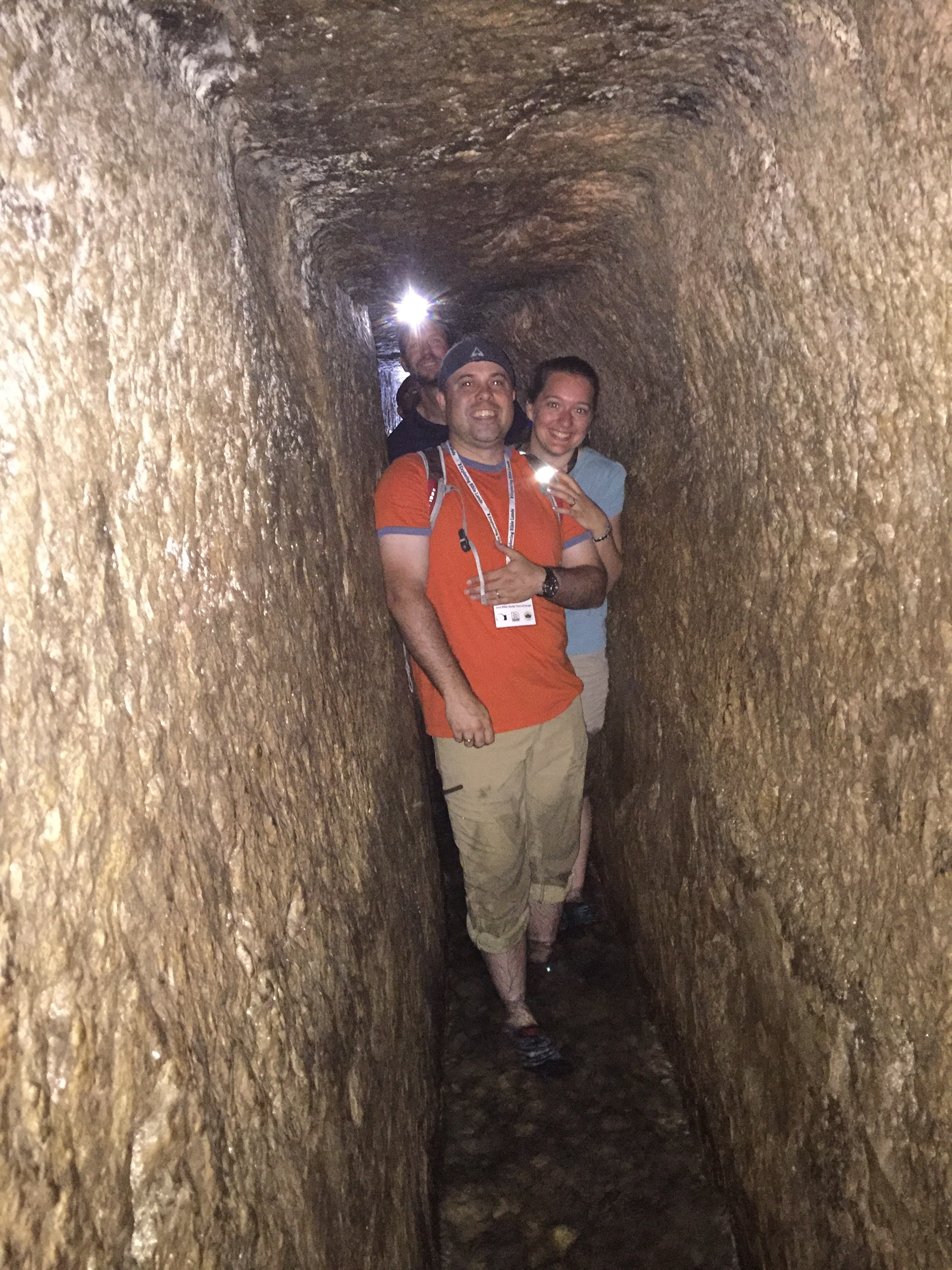 Walking through King Hezekiah's tunnel in the City of David (2 Kings 20:20). The tunnel runs 533 meters (1,748 feet), nearly the length of 6 footballs fields. The tunnel brings water from Gihon Spring to the Pool of Siloam. The water was cool and refreshing! About halfway through the tunnel we began singing hymns, and listend to the words echo off the solid rock passageway.