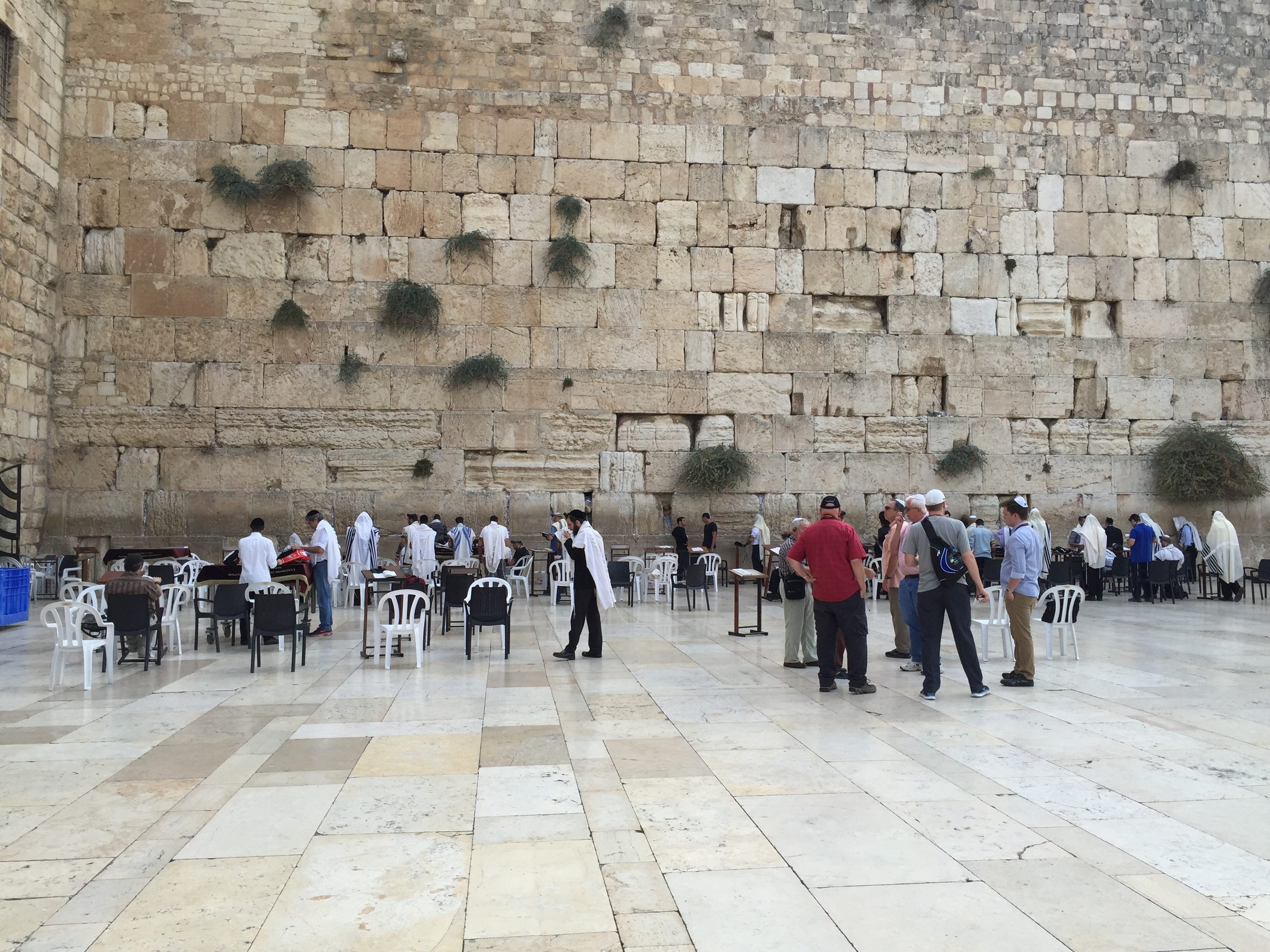 The northern-most end of the wailing wall, the western foundation wall of the Temple Mount where Jewish men and woman come to get close to the location of the temple and pray. Gus provided us with instruction about how to approach the wall. There is a section for both men and women, seperated by a low wall, to keep them from being a distraction to each other. As the men approach they need to have their head covered. We were allowed to use our ball caps, however they also had Yarmika for those who needed them. I want to share more about this site in a later post. The whole location is filled with deep emotion as we watched men and women practicing their faith.