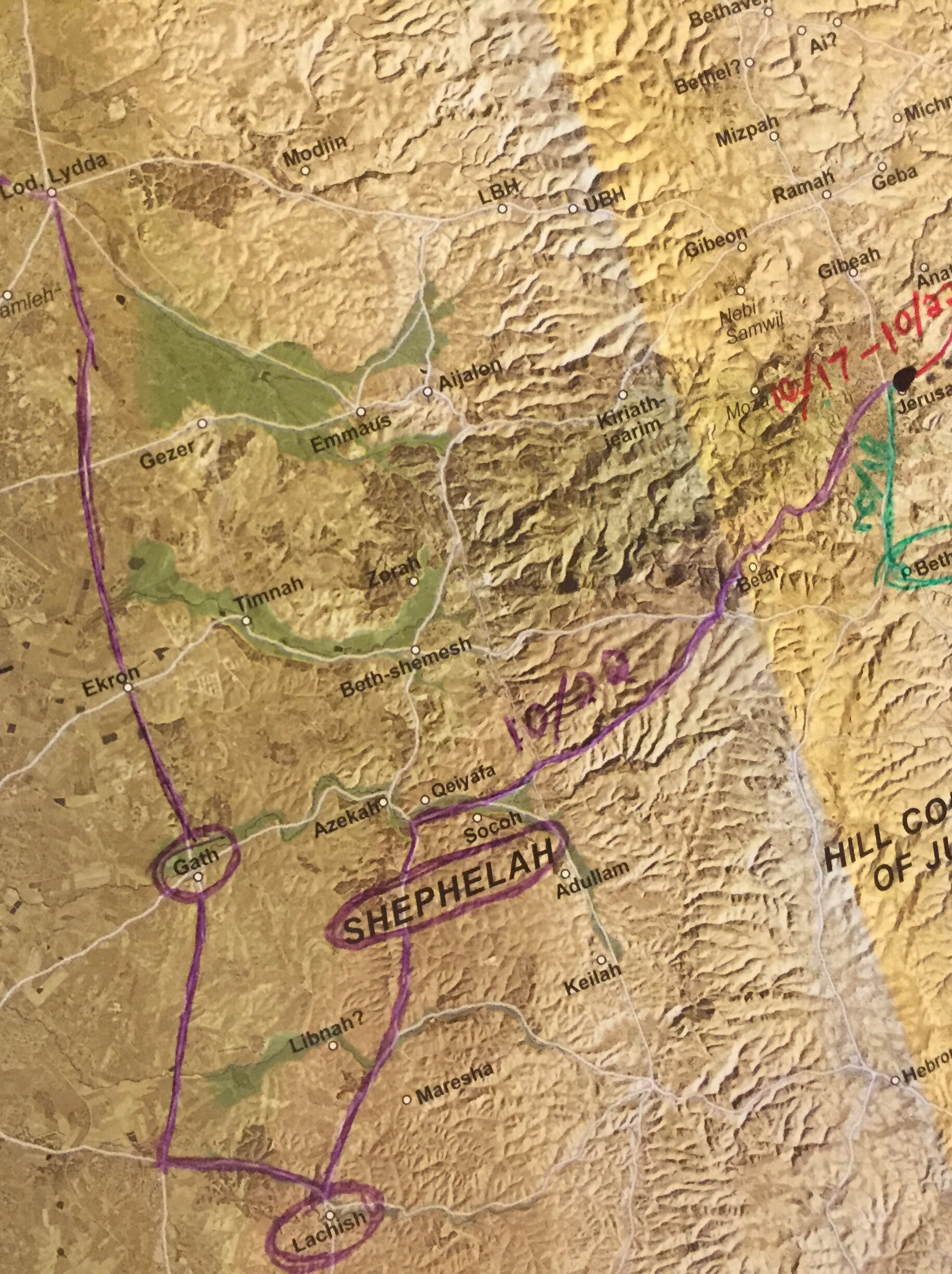 There should be a purple circle north at the intersection between Azekah, Qeiyafa & Socoh. That is where we stopped in the valley of Elah. Beth-shemesh, just north of that, should also be circled.
